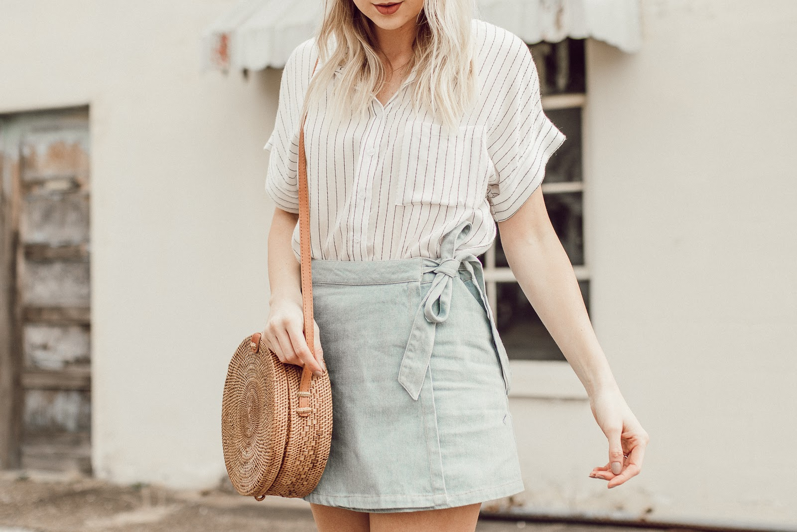 denim skirt with a stripe top