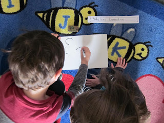 Kids writing names