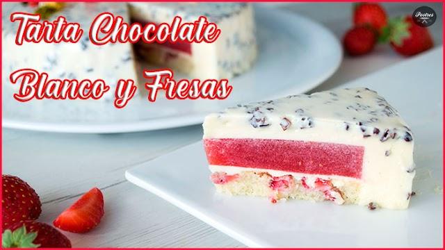 🍰 Tarta de Chocolate Blanco y Fresas 🍓