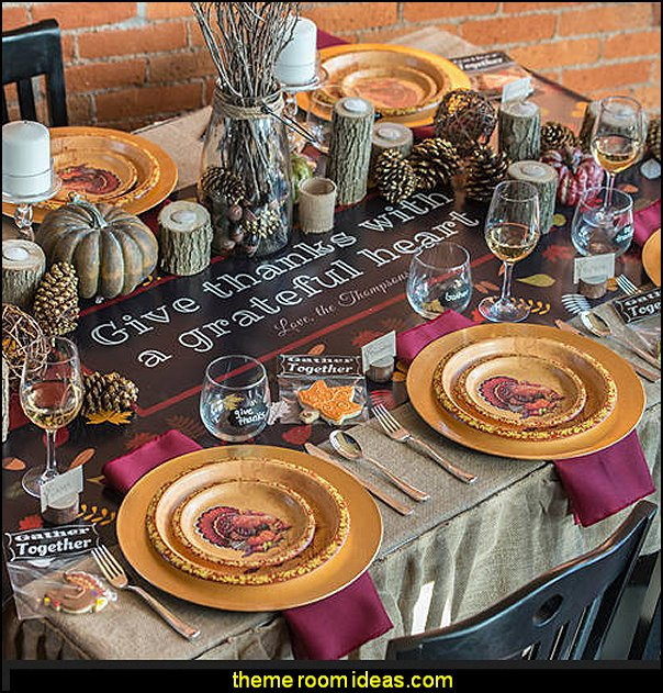 Thanksgiving Party Supplies  autumn fall themed bedroom decorating seasonal decor -  Autumn Fall Thanksgiving Harvest Decor  - fall themed bedding - fall bedroom decor - rustic decorating for thanksgiving  - Autumn colors decorate for fall  -