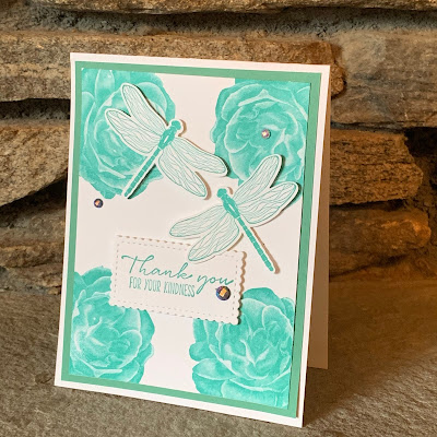 Floral and Dragonfly Thank you Card