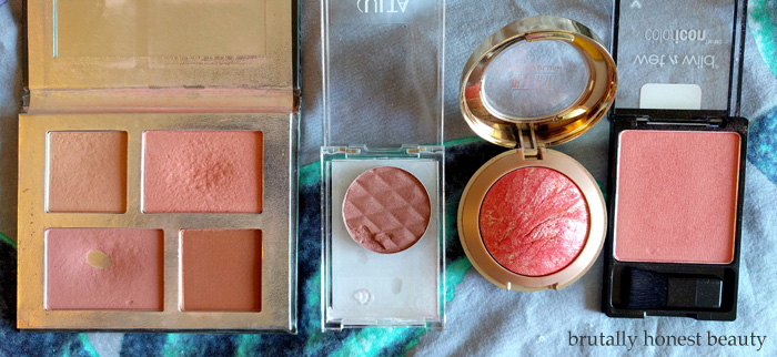 Unknown very old Quo holiday palette, Unknown Ulta brand GWP blush, Milani Baked Blush in Corallina, and Wet N Wild Pearlescent Pink (new version)