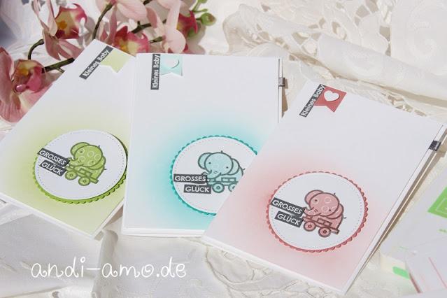 Karten zur Geburt in drei Farb-Varianten DIY