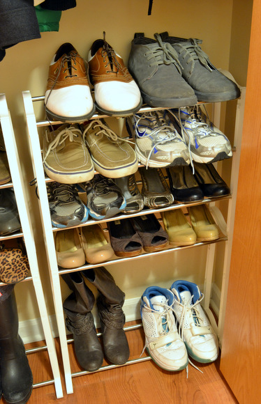 Shoe rack placed in the updated closet
