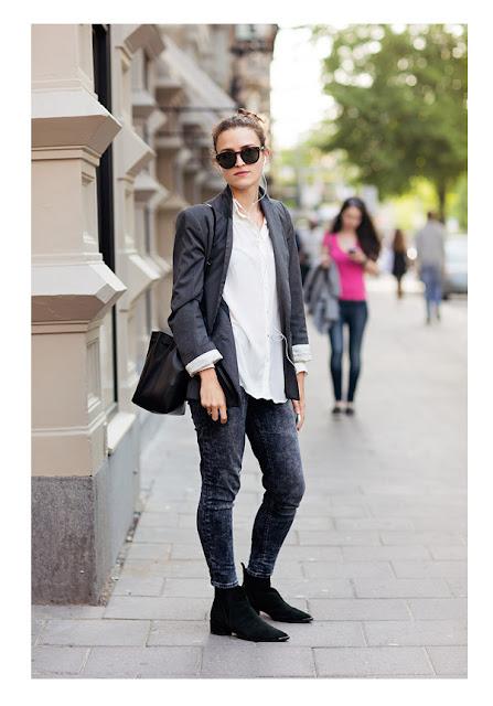 Белая рубашка с жакетом и джинсами