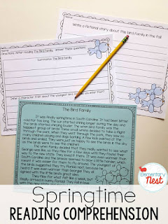 Spring Reading- Fictional Comprehension passages comes with 5 fictional stories with one comprehension activity and one writing activity. The topics range from birds to spring weather to rain.