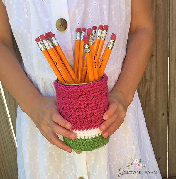Free Crochet Watermelon Pencil Can Cozy