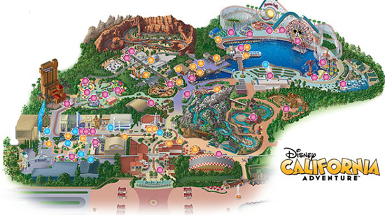 Parque Disney California Adventure Park - Mapa
