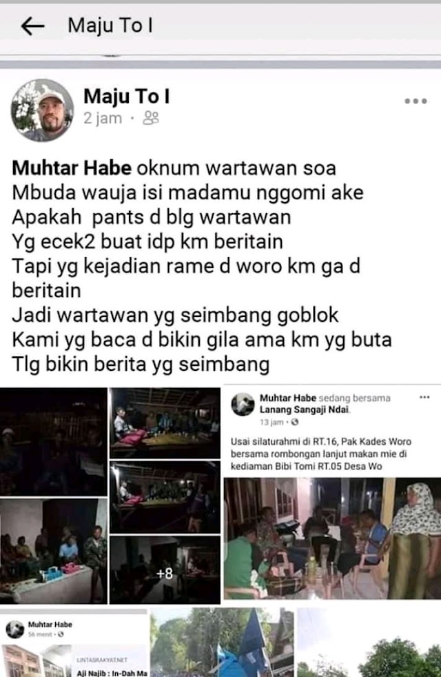 "Sebut Oknum Wartawan Muhtar Habe "" Monyet"", FB Maju To I Belum Diungkap Polisi"