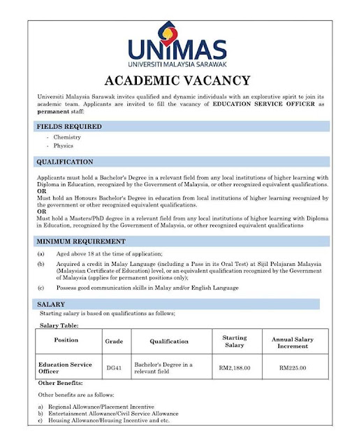 Academic Vacancy Education Service Officer DG41