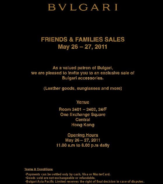 c2a22fa92b29fa Hong Kong Fashion Geek  Bulgari Friends   Family Sale