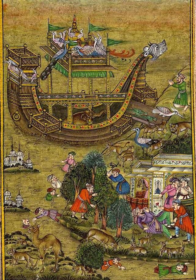 Iluminura mongol, reprodução contemporânea de uma pintura alusiva da Arca de Noé