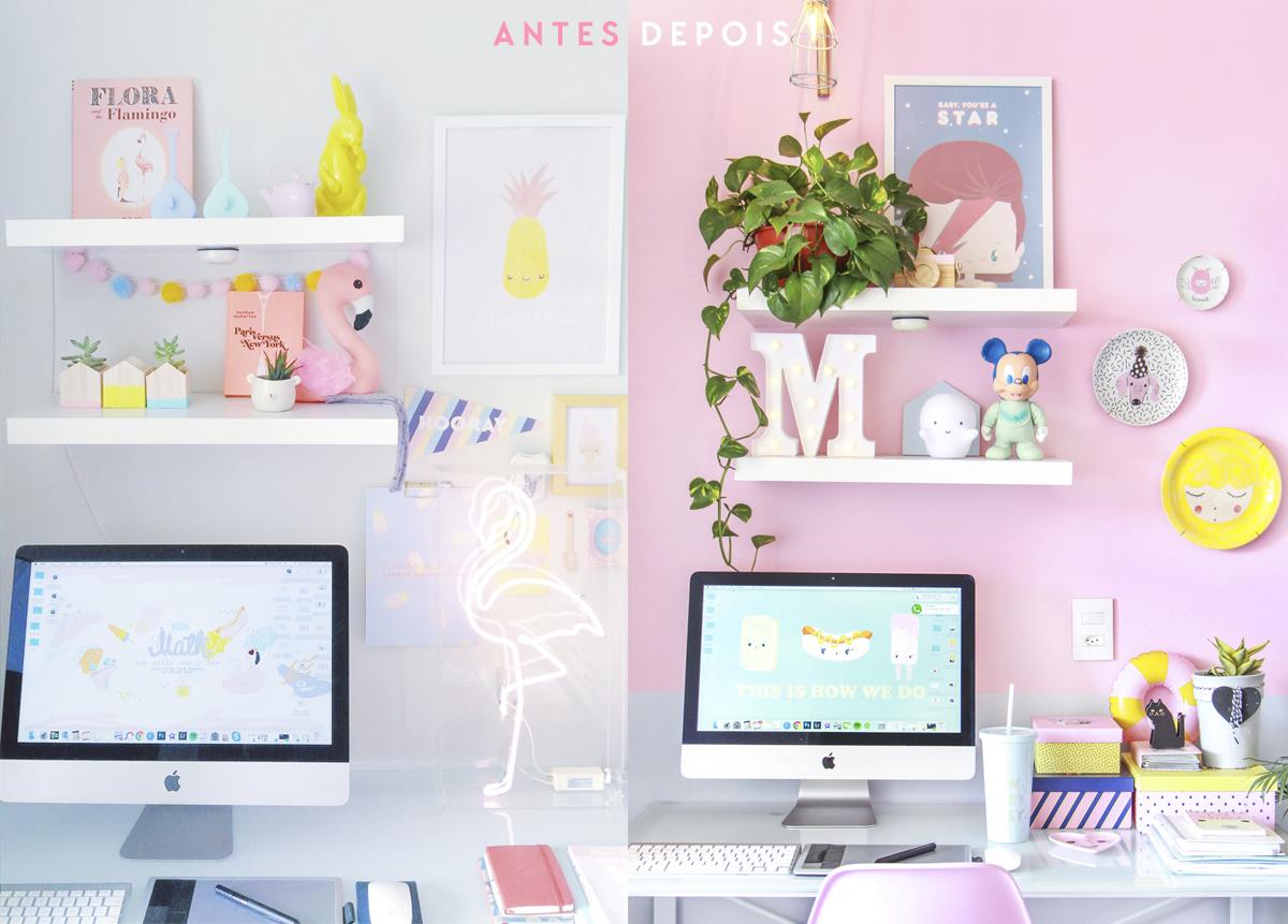 decoração home office antes e depois