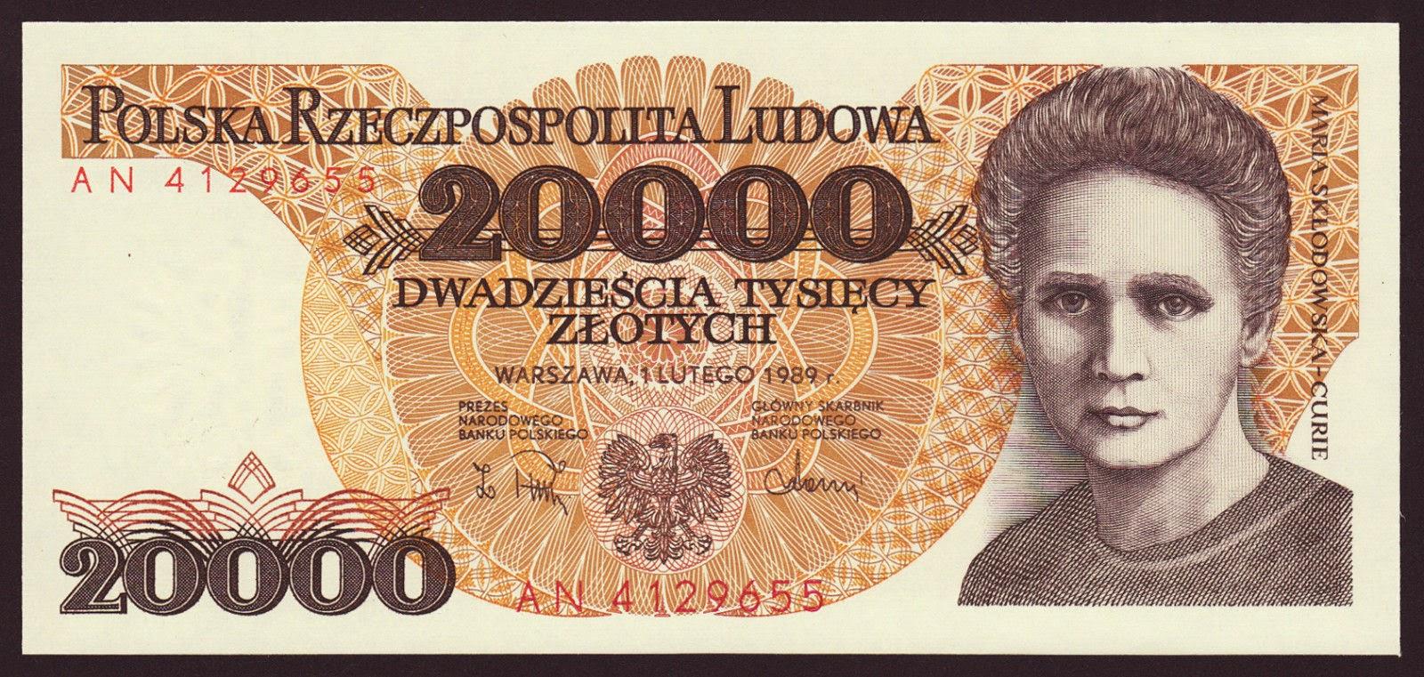 Poland Banknotes 20000 Zloty banknote 1988 Marie Sklodowska-Curie