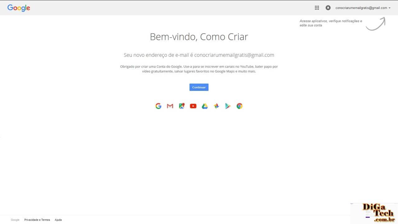 Conta Gmail cadastrada