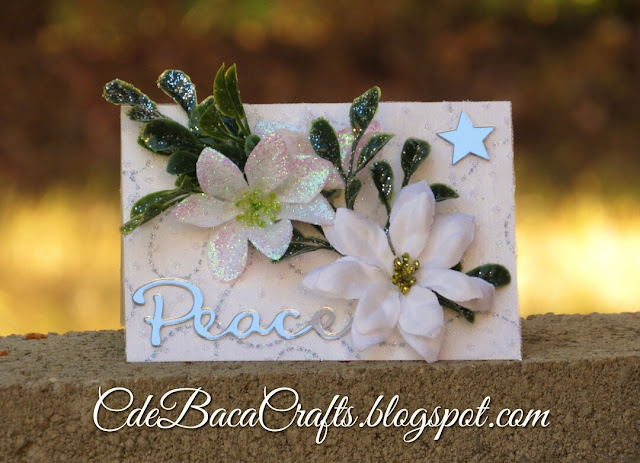 Christmas card with flowers and mirrors featured on CdeBaca Crafts Blog.