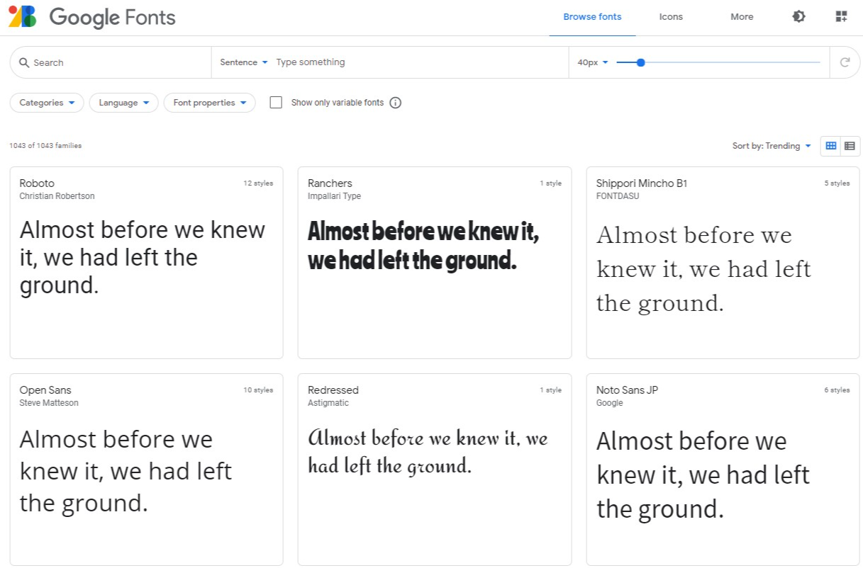 Google Fonts from Font Directory