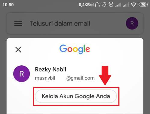 tombol untuk kelola akun Google