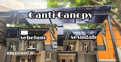 Canopy Besi Minimalis pemasangan dirumah Bpk Ujang di Permata Regency Depok Begini Penampakannya