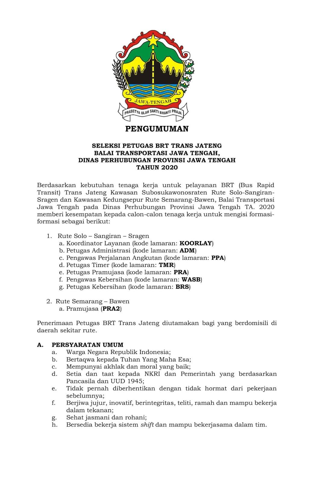 Penerimaan BRT Dinas Perhubungan Jawa Tengah Minimal SMA D3 S1 Terbaru Tahun 2020