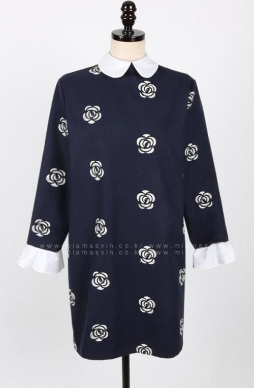 Flower Pattern Peter Pan Collar Shift Dress