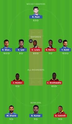 WI vs IND dream11 team | IND vs WI