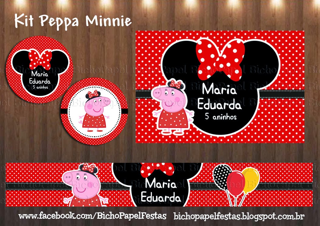 Kit Festa Peppa Minnie Vermelha