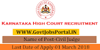 High Court of Karnataka Recruitment 2018 – 101 Civil Judge
