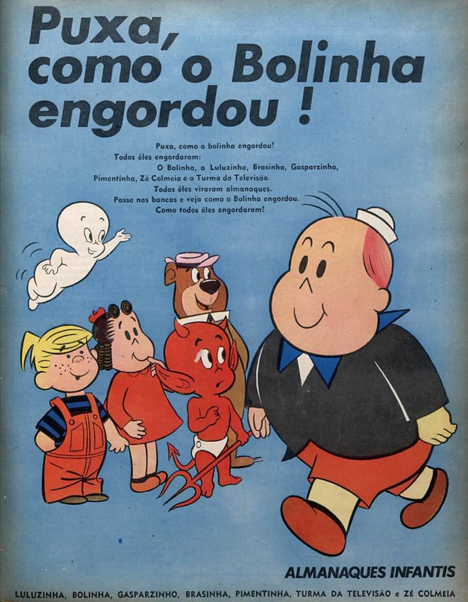 Propaganda antiga de 1972 apresentava os almanaques infantis com vários personagens
