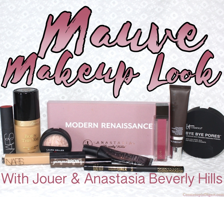Mauve-themed full face makeup look with Anastasia Beverly Hills Modern Renaissance eyeshadows and Jouer Long-Wear Lip Creme in Cassis.