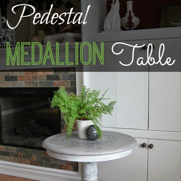 Round Pedestal Medallion Stenciled Table