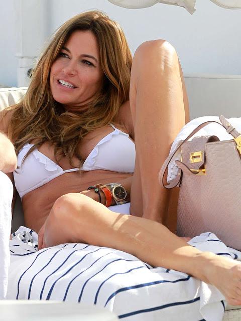 Kelly Bensimon, 49, Shows Off Super-Fit Figure in Striped Bikini