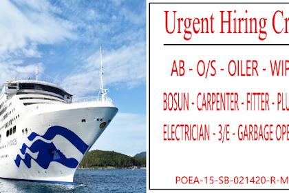 Hiring Passenger Ships Crew AB, O/S, Bosun, Oiler, Carpenter, Wiper, Plumber, Electrician, 3/E, Garbage Operator