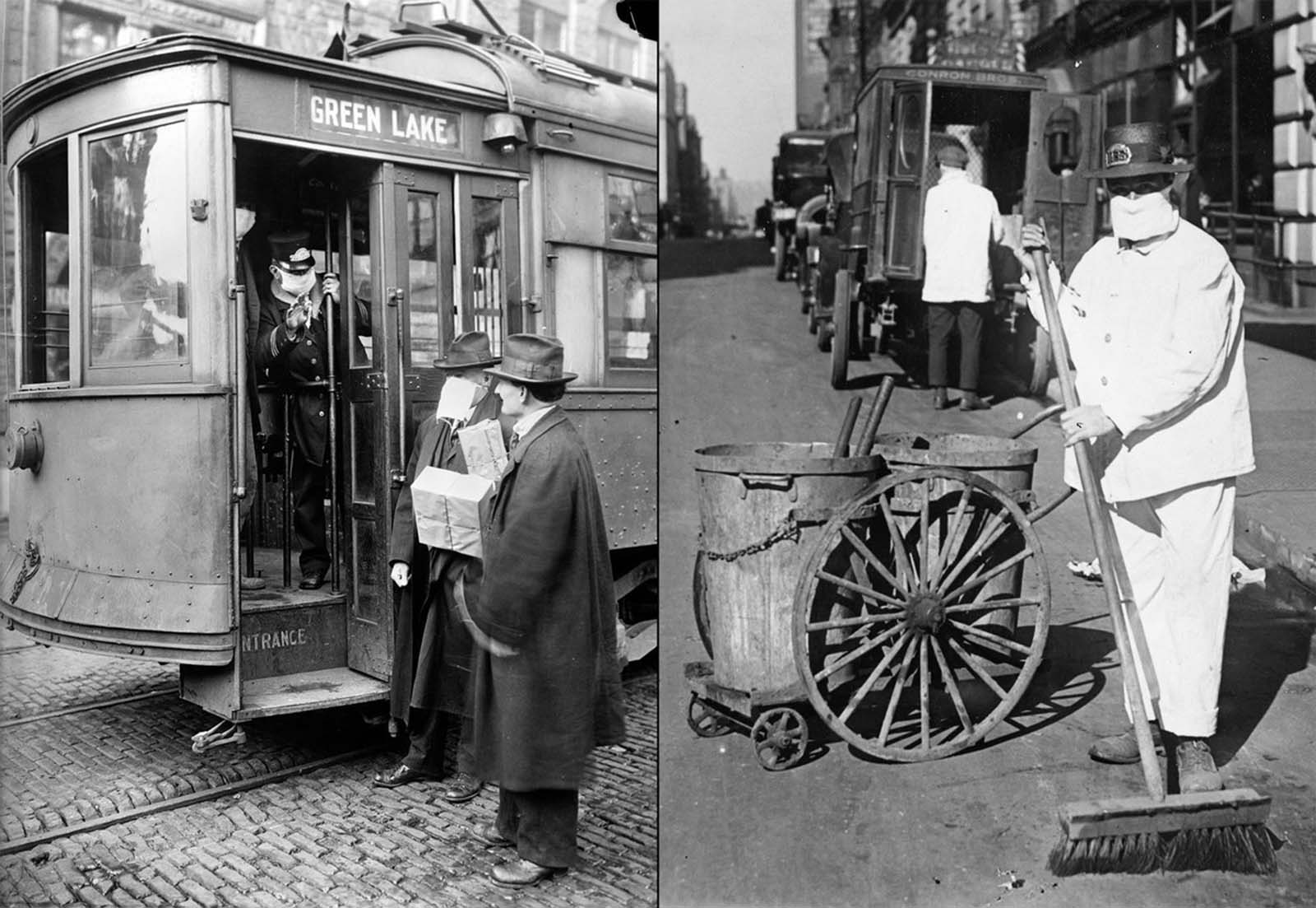 Left: A conductor checks to see if potential passengers are wearing masks in Seattle, Washington. During the influenza epidemic, masks were required for all passengers. Right: A worker wears a mask to prevent the spread of influenza. The New York Health Board admonished citizens to wear masks to check the spread of the influenza epidemic: