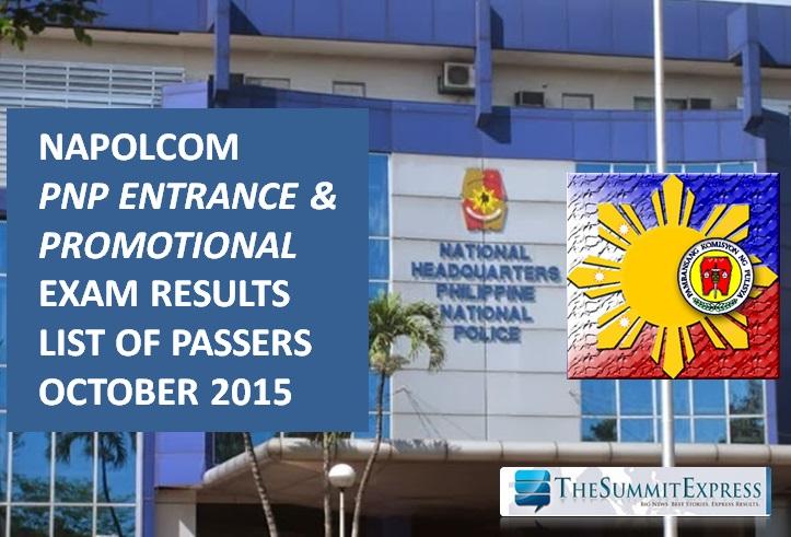 October 2015 NAPOLCOM exam results