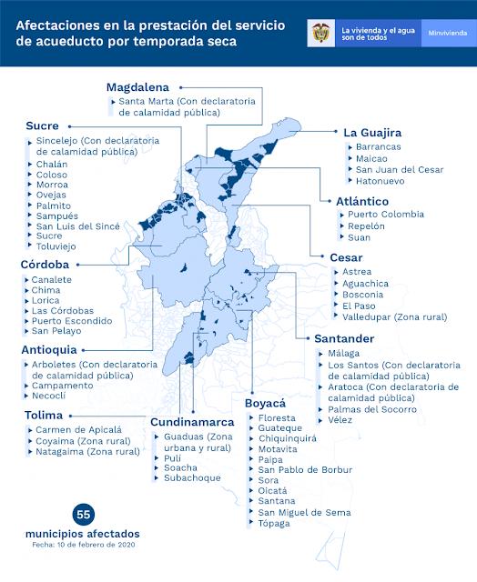 Ocho municipios más en Colombia reportan afectación  por temporada seca