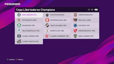 PES 2020 PS4 Option File Classic Libertadores Champions by Voitx9 & Adrian Gonzalez