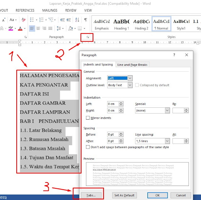 contoh praktek membuat daftar isi manual ms word 2010