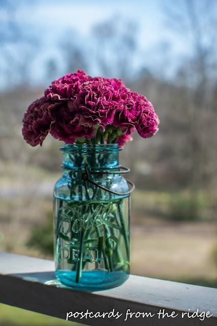 Swoon! Dark pink carnations in a vintage ball mason jar. Postcards from the Ridge
