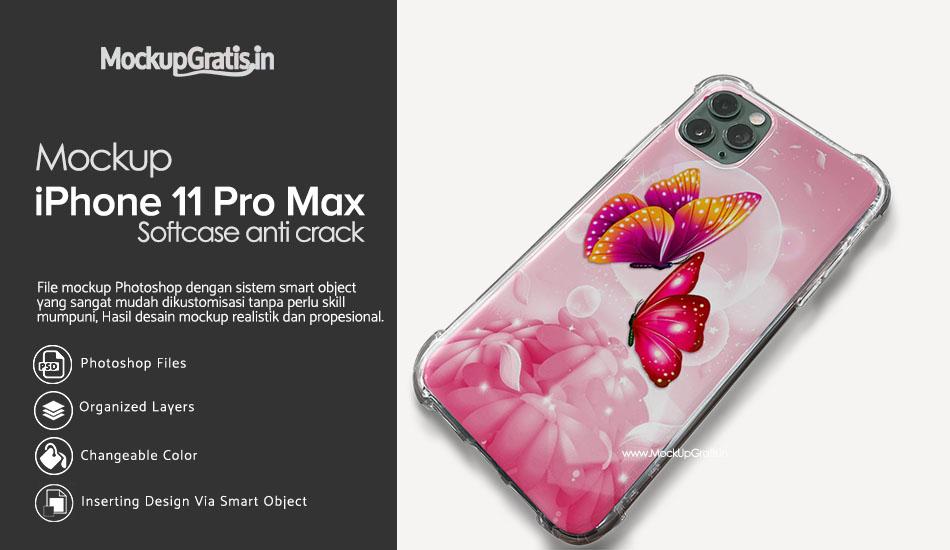 Mockup Gratis Softcase Anti Crack iPhone 11 Pro MAX