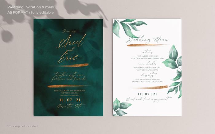 Wedding Invitation Menu Template With Beautiful Leaves