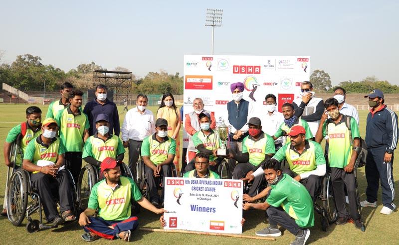 Winners of Usha Divyang Cricket League 2021 pose for a group photograph