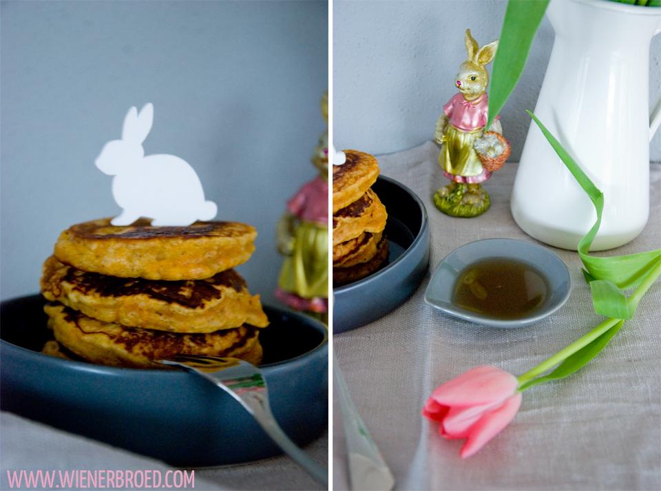 Rezept für Karottenkuchen-Pancakes, der leckere Rüblikuchen als Pancake, perfekt für das Osterfrühstück / Carrot Cake Pancakes [wienerbroed.com]