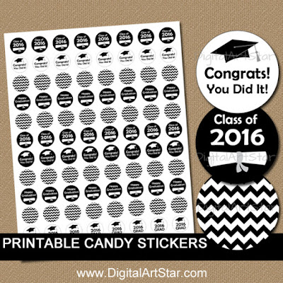 graduation candy stickers in black & white; chevron, diplomas, graduation hats; class of 2016