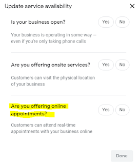 Google My Business Online Appointments