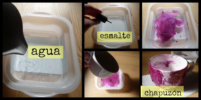 proceso para tintar una taza con esmalte de uñas