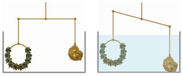 Ilustrasi Archimedes memeriksa keaslian mahkota raja.