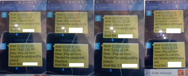 Proof of payment trading Terra Credit and withdrawing the money in Nigerian Naira