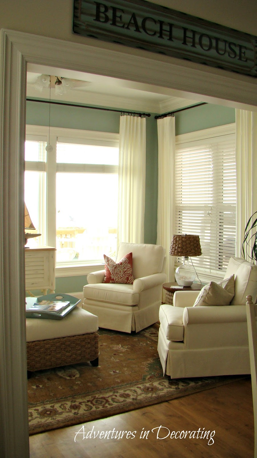 Inexpensive Beach Chairs Padded Stack Adventures In Decorating: My Parents' *new* Sunroom ...