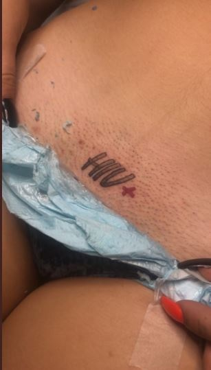 Beautiful HIV Positive Lady Tattoos 'HIV+' On Her Private Part (Photos)